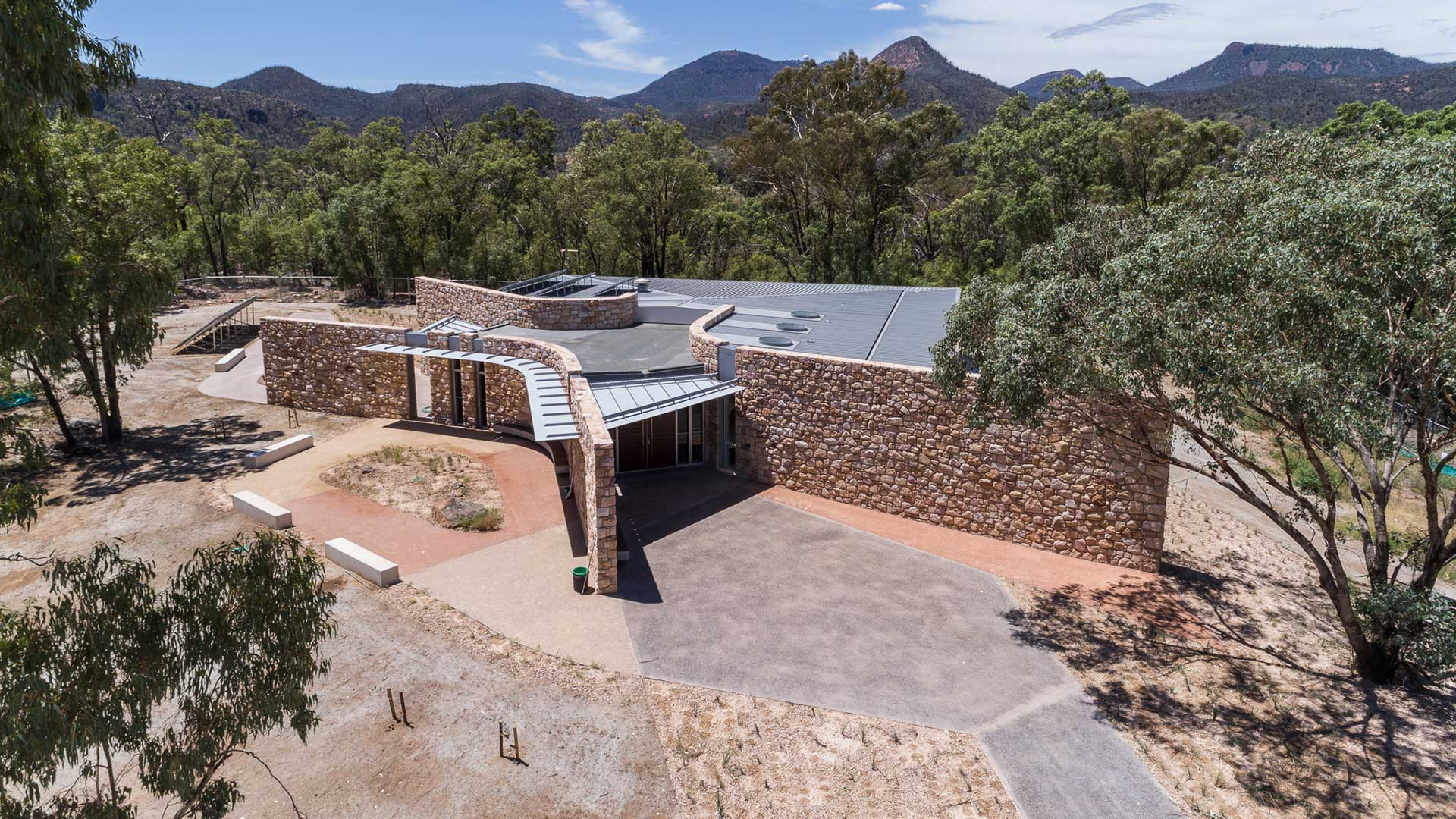 Warrumbungles Visitor Centre - Aerial Entrance| Hines Constructions, Central West NSW